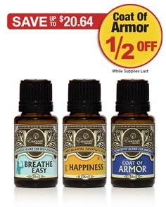 Sale: Buy Breathe Easy & Happiness Blends get 1 Coat of Armor for half off!