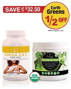 Sale: Buy 1 Omega 3, 6, 9 Vital Oils get 1 Earth Greens Powder half off!