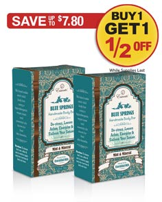 Sale: Buy 1 Blue Springs Body Bar get 1 half off!