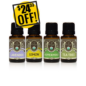 A DISCOUNTED PACK<br>Essential Oils Starter Kit - Lavender Lemon Peppermint Tea Tree<br>$24.33 OFF!