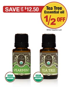 Sale: Buy 1 Spearmint oil get 1 Tea Tree half off!