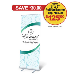 Essanté Logo Retractible Pull Up Banner<br> With Carrying Case (Approx. 3' x 7')