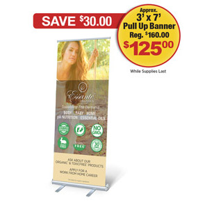 Supplying Demand Model On Swing Retractible Pull Up Banner With Case (Approx. 3ft x 7ft)