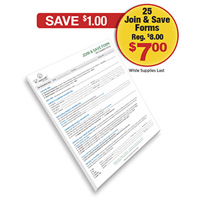 Tear Off Pad<br> 25 Join & Save Forms