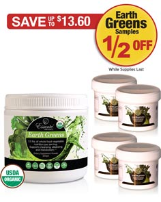 Sale: Buy 1 Earth Greens Powder get 4 Earth Greens Samples Half Off!