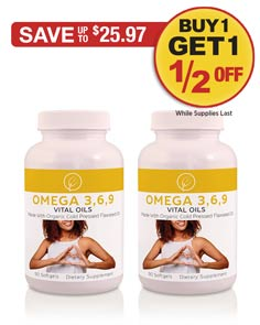 Sale: BOGO 1/2 OFF Omega 3,6,9, Vital Oils