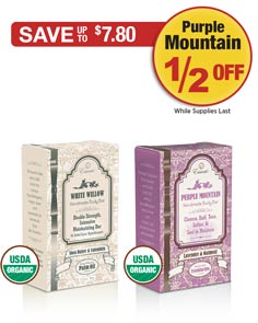 Sale: White Willow Buy 1 Get Purple Mountain Bar 1/2 OFF