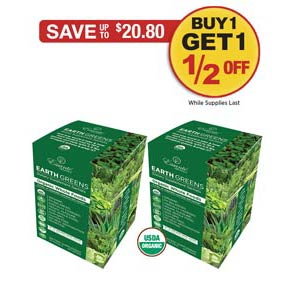 Sale: Buy 1 Earth Greens Box Get 1 1/2 OFF!