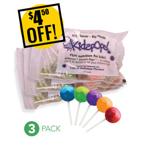 Web Offer: Kids Pops ANY 3 BAGS<br>$4.50 OFF!
