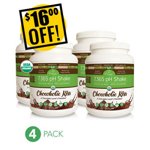 A DISCOUNTED PACK<br>4 Canisters of 7.365 pH Protein Shake Chocolate<br>$16.00 OFF!