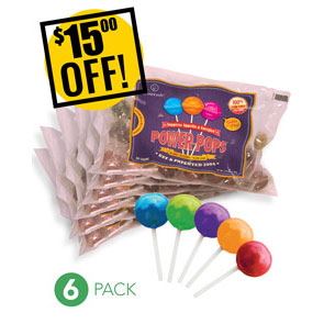 Web Offer: Power Pops ANY 6 BAGS<br>$15 OFF!
