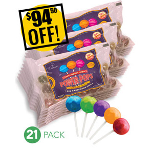 Web Offer: Power Pops ANY 21 BAGS - DISCOUNTED PACK SAVE $63.00 USD