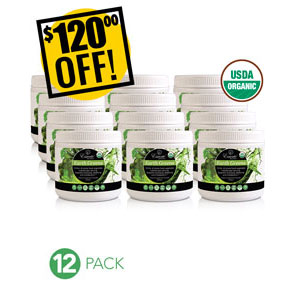 A DISCOUNTED PACK<br>12 Jars Earth Greens Powder<br>Expo or Store Front Pack<br>$120 OFF!