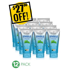 A DISCOUNTED PACK<br>12 Sparkle Toothpaste Tooth Polish<br>Expo or Store Front Pack<br>$27 OFF!