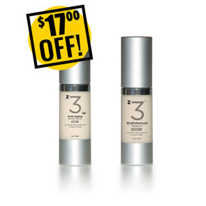 A DISCOUNTED PACK<br>z3 Anti-Aging Duo<br>z3 Moisturizer, z3 Facelift Serum<br>$17 OFF!