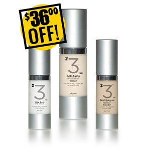 A DISCOUNTED PACK<br>z3 Anti-Aging Trio<br>z3 Vital Eyes, Moisturizer, Facelift Serum<br>$36 OFF!