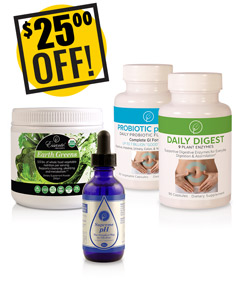 A DISCOUNTED PACK<br>Dynamic Digestion<br>Probiotic, Enzymes, Greens, Supreme pH<br>$25.00 OFF!